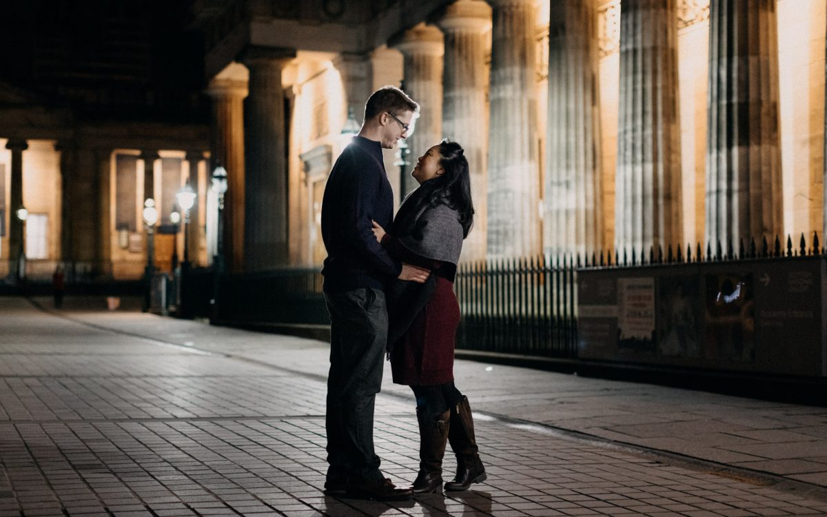Edinburgh Nighttime Couples Session -- Janet & Eric